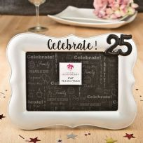 Celebrate 25th Silver Photo Frame 4x6in